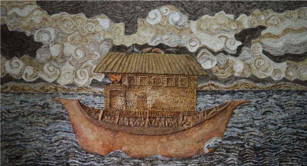 Sudipta Das, Mobile House, Water colour, coffee, wash, pulp, acid free paper on board, 107_ x 57_, 2016 _low res