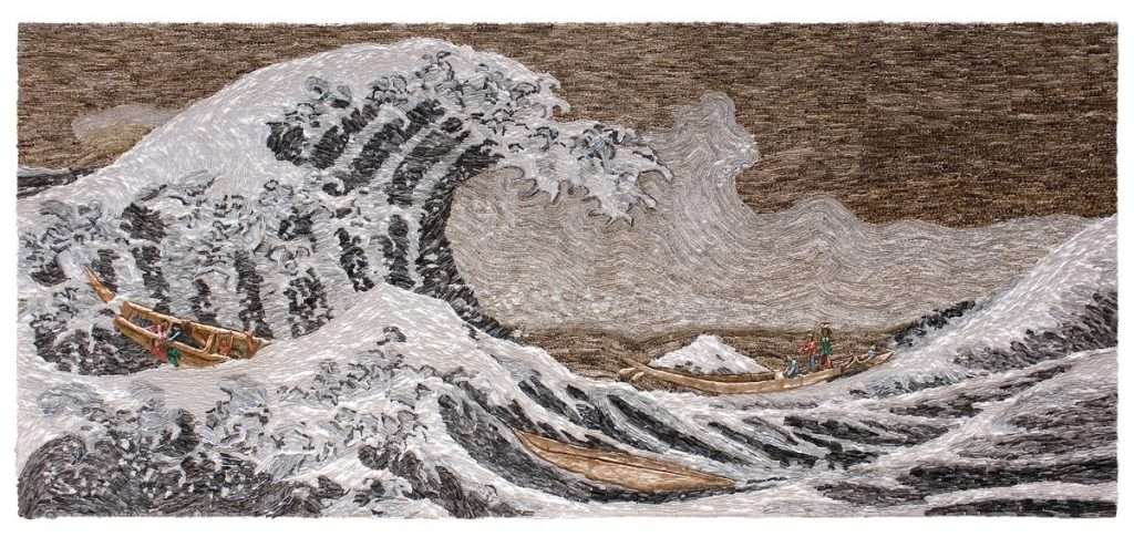 Sudipta Das, The Great Shift, Water colour, coffee, wash, pulp, acid free paper on board, 107_ x 47_, 2016 _low res